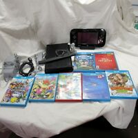 Nintendo Wii U System Black 32 GB Console Bundle 7 Games Controller All Cords