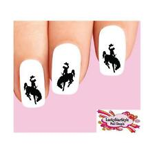 Waterslide Nail Decals Set of 20 - Cowboy on Bucking Horse Silhouette