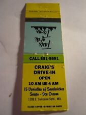 Vintage Craig's Drive In Open 10 AM till 4 PM Sunshine Springfield MO Matchbook