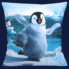"""PERSONALISED Happy Feet Erik Dancing ADD CHOICE OF NAME 16"""" Pillow Cushion Cover"""