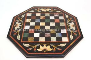 """24"""" Marble Chess Coffee Bedroom Table Top Inlay Mosaic Kitchen Center Decor E648"""