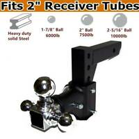 "Three Ball Swivel Adjustable Trailer Tow Drop Hitch Ball Mount 2"" Receiver USA."