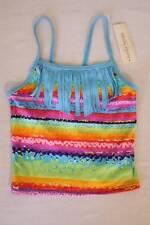 NEW Girls Tankini Top Swimsuit Medium 7 - 8 Bathing Suit Rainbow Blue Fringe