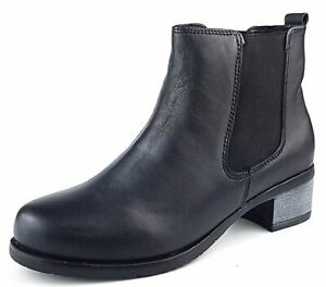 Womens Black Block Heel Leather Chelsea Ankle Boots Size 3 4 5 6 7 8