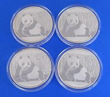 (4) 2015 China Silver Panda Bullion 10 Yuan Coin BU Uncirculated in Capsule