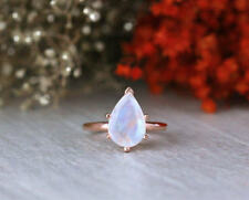 14k Solid White Rose Yellow Gold Cut Rainbow Moonstone Wedding Fine Jewelry Ring