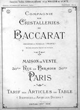 Cristal Baccarat. Catalogue de la cristallerie 1907 en PDF