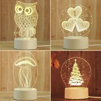 1pc 3D USB Acrylic Night Light LED Table Desk Bedroom Decor Gift Warm White Lamp