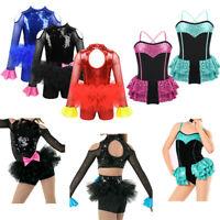 Girls Sequined Ballroom Dancing Dress Kids Modern Jazz Latin Dancewear Costume