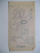 Henri BROCHET dessin sur papier calque SAINTE CECILE 1940,