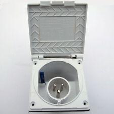 MAINS INLET 16A 230V FLUSH WHITE CARAVAN MOTORHOME HORSEBOX for 16 AMP HOOK-UP
