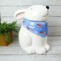 Easter Bunny Cookie Jar by Coco Dowley, Blue Hankerchief with Carrots