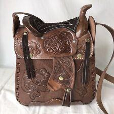 Hand Tooled Leather Western Cowgirl Horse Saddle Shoulder Bag Purse Vintage