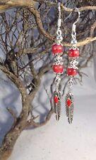 Handmade Earrings Tibetan Silver feather  Dangle Drop Boho Earrings 925 Wires