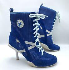 Y2K 90s Nm70 Nicole Miller Sneaker Boots Hi Heel Stiletto White Blue Suede Vtg 7