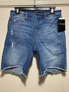 Energie Womens Juniors Bermuda Jeans Shorts Size 9 Medium Wash Fringe New NWT