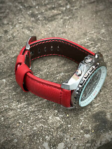 Genuine Red Leather Watch Strap 22/20mm 24/22mm Lug Watches