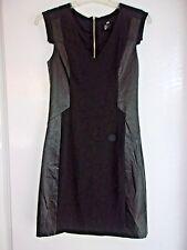 Women's NWOT sz 6 Black H&M BODYCON Black Dress  Faux Leather Trim