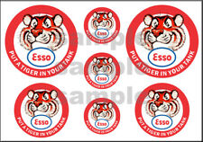 VINTAGE STYLE 1 3/4 AND 1/2 INCH ESSO TIGER GAS OIL DECAL STICKER