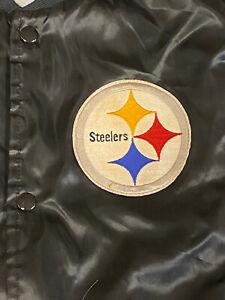 Vtg Chalk Line NFL Pittsburgh Steelers Black Satin Jacket Adult XL