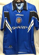 Manchester United Jersey 1996-1997 Umbro Shirt Sharp Blue Third Mens Size Large