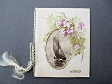 Antique CHRISTMAS Card Art Nouveau Embossed Harebells & Sailing Ship 1890s