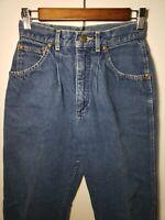 Vintage 80s 90s Lee Denim High Waisted Rise Mom Jeans Tapered 25 X 31 Dark Blue
