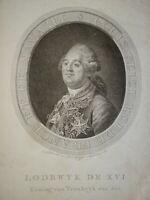 GRAVURE NÉERLANDAISE XVIII° PORTRAIT ROI LOUIS XVI BOURBON ROYALISTE 1789