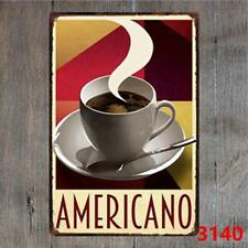 Americano Coffee Vintage Tin Signs Metal Plate Cafe Decor Art Wall Poster