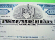 1970's International Telephone & Telegraph Stock Blue 100 Shares Original Xlnt+