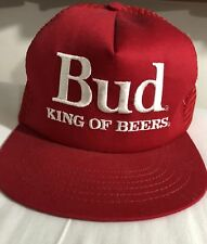 Budweiser Vintage 1980s Trucker hat, Snapback, all mesh, Red, Made in Usa