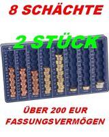 2 STÜCK*EURO*MÜNZBRETT*MÜNZSORTIERER*MÜNZZÄHLER*ZÄHLBRETT*8 SCHÄCHTE
