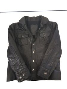 All saints black leather unisex long sleeve childs age 4 years of age jacket