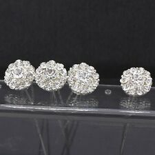 10 Clear Rhinestone Hair Pins Diamante Crystal Clip Bridal Wedding Party Silver