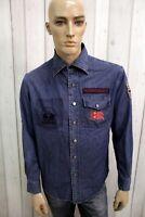 Camicia Di Jeans LA MARTINA Uomo Taglia M Blu Chemise Shirt Casual Manica Lunga