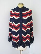 Vtg 70s RWB Red White Blue ZigZag Stripe Hand Made Crochet Button Fringe Cape