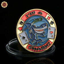 WR I'm A Shark Poker Card Guard Protector Casino Chip Gaming Token Gold Coin 24K