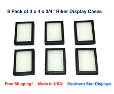 6 Pack of 3 x 4 x 3/4 Riker Display Cases Boxes for Collectibles Jewelry & More