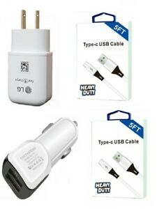 LG K51/K52/K53/Q70/Velvet/Reflect Genuine LG Fast Wall/USB-C 5 Feet/Dual USB Car