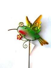 "Home Garden Pool Patio - Glass Hummingbird Stake Bead Eyes 19"" Total Length New"