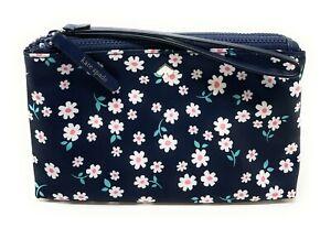 Kate Spade Jae Fleur Nylon Medium Double Zip Wristlet Floral Navy WLR00583 $139