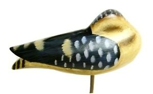 Resting Yellow Legs Shorebird Decoy Hand Carved Painted Bird Wood Block Base