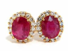 $5000 9.00ct ENHANCED RED RUBY DIAMOND EARRINGS 14KT COCKTAIL CLUSTER HALO OMEGA