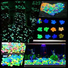 Lot 100Pcs Pebbles Stone Glow in the Dark Home Garden Walkway Aquarium Fish Tank