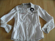 TOM TAILOR Polo Team tolle Bluse weiß m. Applikationen Gr. 36   TOP 415