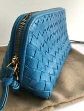 BOTTEGA VENETA INTRECCIATO BLUE NAPPA LEATHER COSMETIC/MAKE UP BAG & DUSTBAG