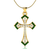 """0.55 Ct Green Emerald and Sapphire Cross Pendant 18"""" Necklace 18k Yellow Gold GP"""