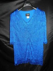 Vintage 70s Night Moods 18W 1X Blue Flapper Fringe Tunic Short Mini Disco Dress