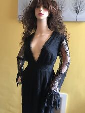 Runway H&M Studio Elegant Black Lace Maxi Dress Size 10 M Sexy