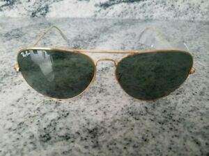 Ray-Ban Aviator Sunglasses RB 3026 gold shine Frame Classic green Lens 62mm